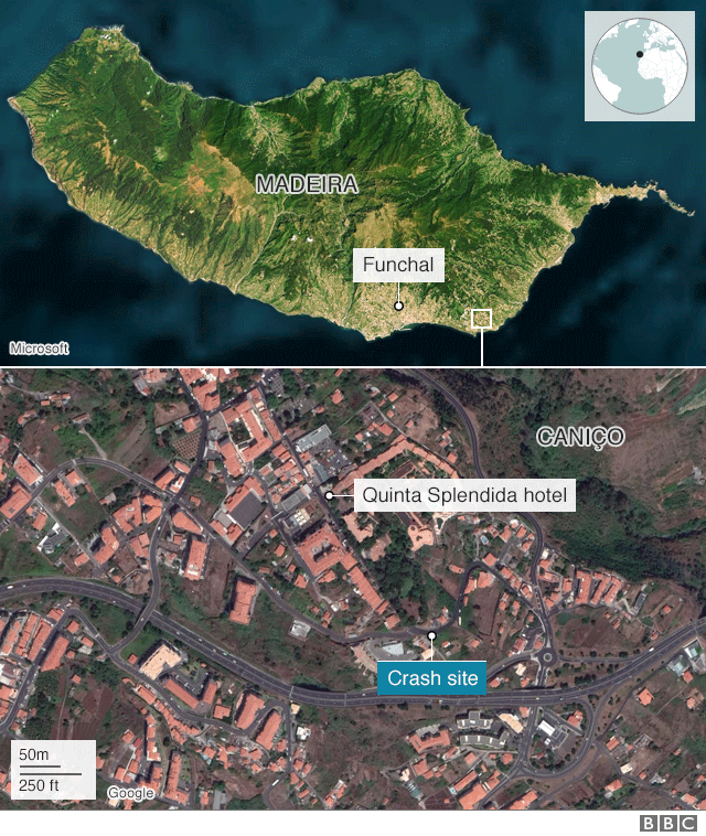 Map of Madeira showing the crash site