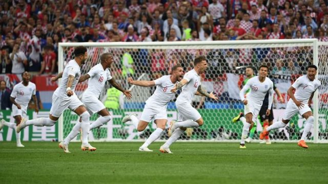 England players celebrate Kieran Trippier's goal against Croatia in the World Cup semi-final