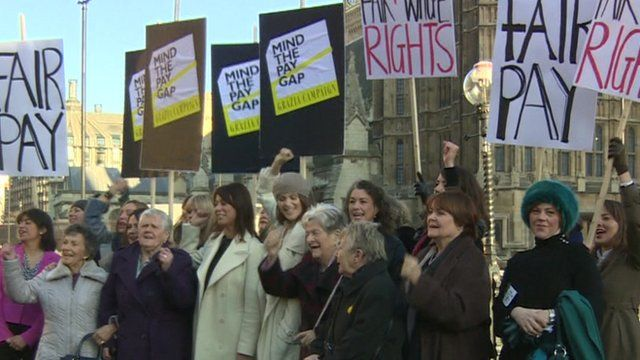 Women protesting at Westminster