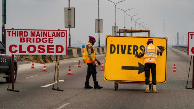 A diversion sign on the Third Mainland Bridge, Lagos, Nigeria