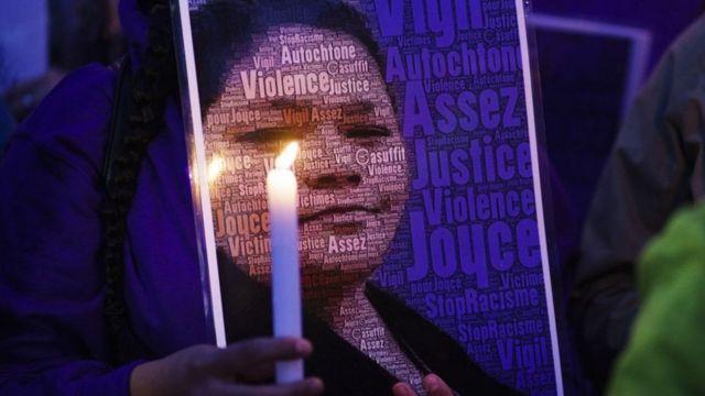 Cartel con el rostro de la mujer indígena