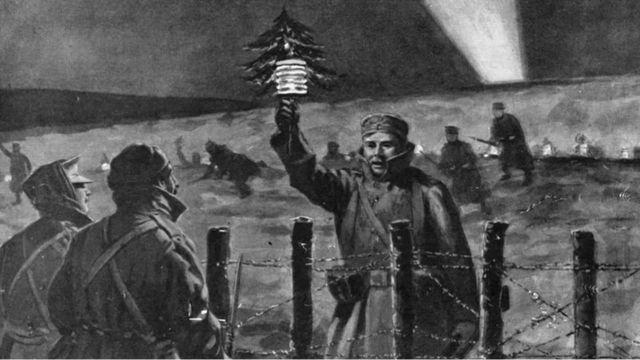Soldados se aproximam em noite de Natal