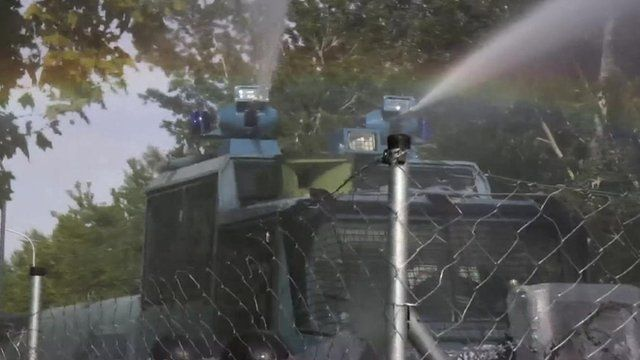 Water cannon at Hungary border