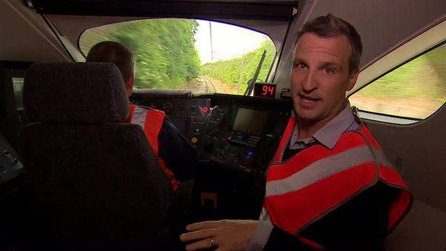 Richard Westcott inside train