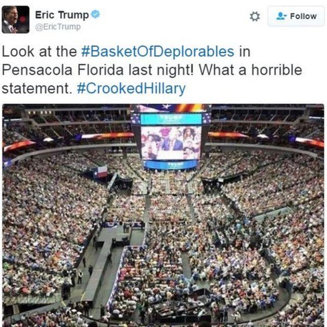 US election: Clinton calls half of Trump supporters 'deplorables'