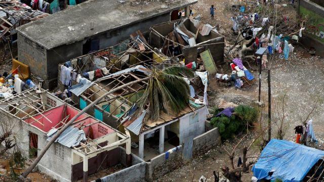 Casas destruidas en Haití