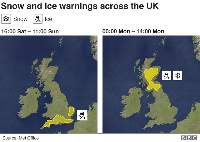Map showing Met Office snow and ice warnings for Saturday 2 February to Monday 4 February