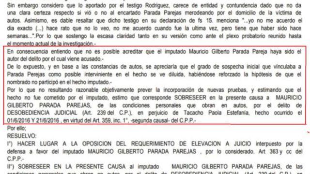 Uno de los sobreseimientos dictados por la Justicia tucumana a una de las 13 denuncias realizadas por Paola Tacacho contra Mauricio Parada Parejas por acoso.