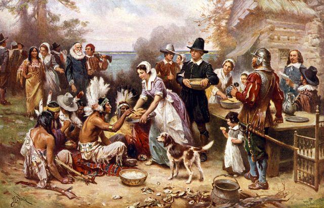 Pintura que simboliza o primeiro Dia de Ação de Graças