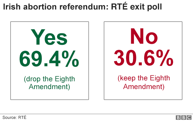 Graphic showing results of RTE exit poll