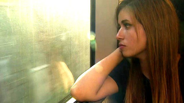 Nour from Syria, on the train to Sweden