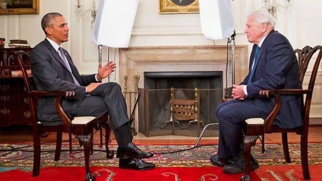 美国前总统奥巴马与艾登堡爵士