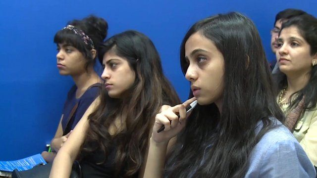 Indian women listening to a presentation