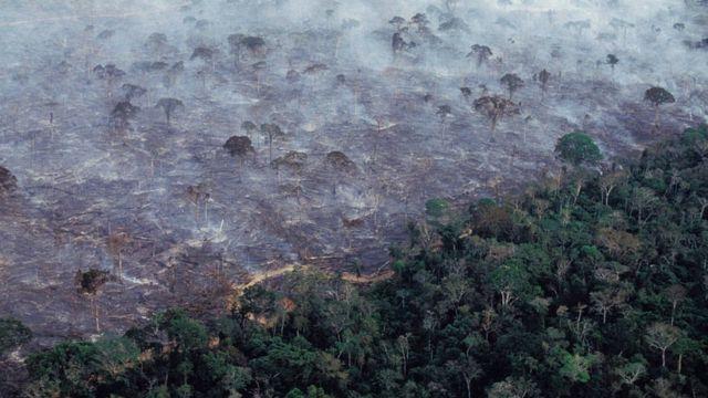 Vista aérea da floresta amazônica queimando em 2017
