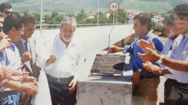 Lula e Aécio em cerimônia de inauguração da ponte