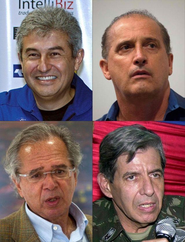 Imagem mostra fotos de Marcos Pontes, Onyx Lorenzoni, Paulo Guedes e o general da reserva Augusto Heleno, apontados como ministros do governo de Jair Bolsonaro, recém-eleito presidente do Brasil