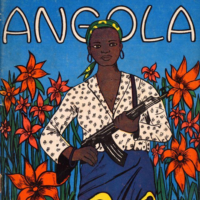 La couverture du magazine Tricontinental en 95 avec le mot Angola et une femme tenant une mitrailleuse.