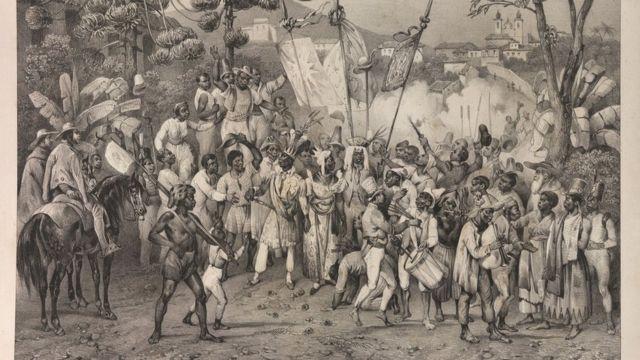 "Escravos participam da festa de Santa Rosália. ""Fête de Ste. Rosalie, Patrone des nègres"". Gravura contida na obra ""Voyage pittoresque dans le Bresil"", de Johann Moritz Rugendas e M. de Golbery, 1835."