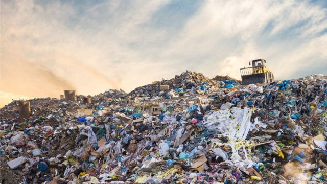 A landfill filled with plastic rubbish (stock photo)