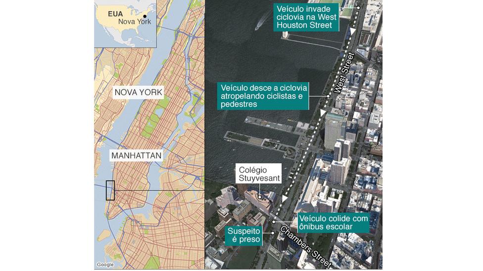 Mapa mostra local do incidente