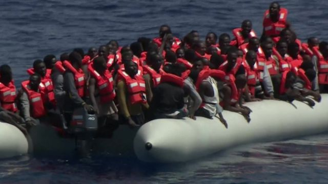 Migrants on rubber boat