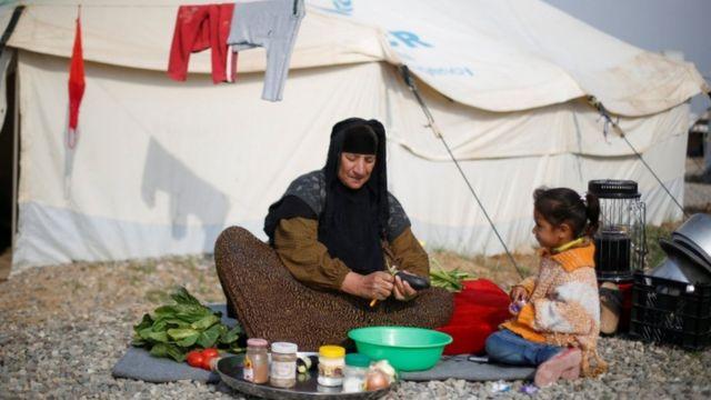 مخيم حسن شام لإيواء الأسر العراقية التي فرت من الموصل