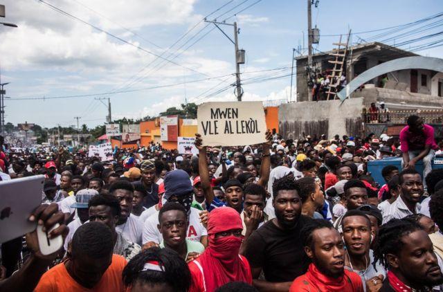 Protesters march in Haiti