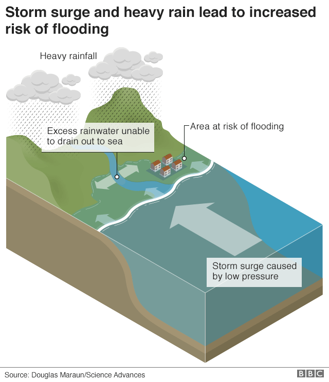 Graphic showing how storm surges lead to increased risk of flooding
