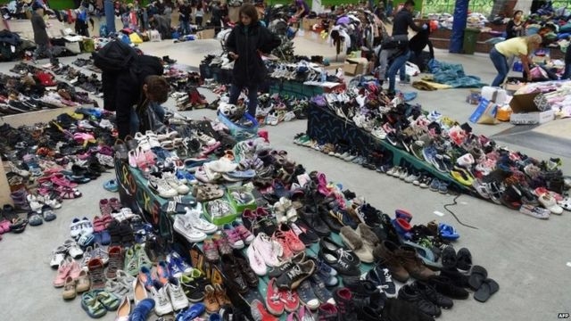 Clothes and shoes collected for migrants arriving in Dortmund