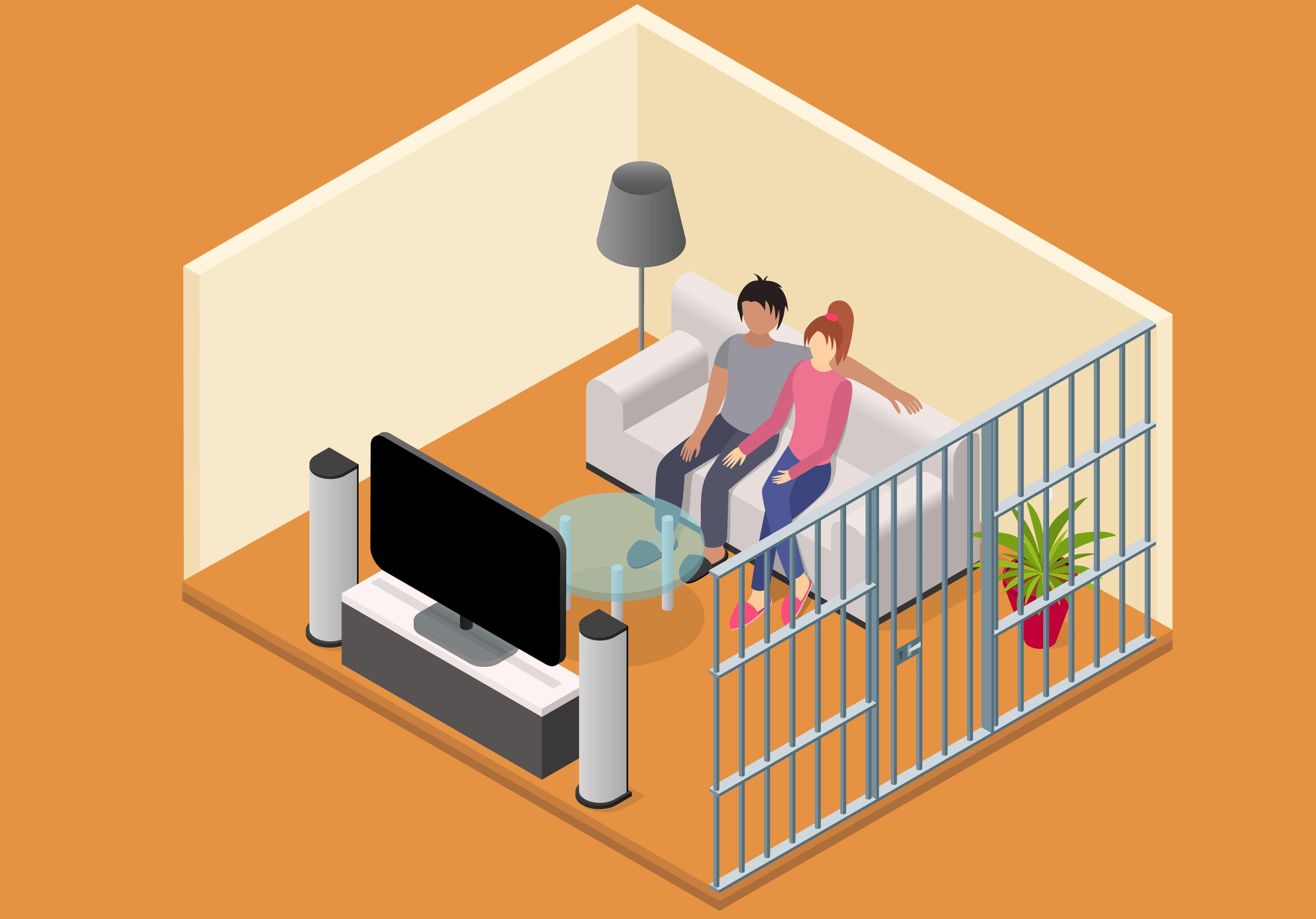 Ilustración isométrica de una pareja mirando TV enjaulados.