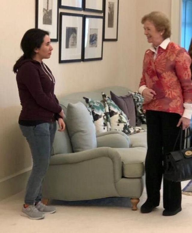 """Princess Sheikha Latifa bint Mohammed al-Maktoum, daughter of Dubai""""s ruler, meets with Mary Robinson, former United Nations High Commissioner for Human Rights and former President of Ireland, in Dubai"""