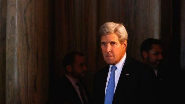 جان کری در حاشیه نشست یکی از جلسات مربوط به سوریه در نیویورک، 22 سپتامبر