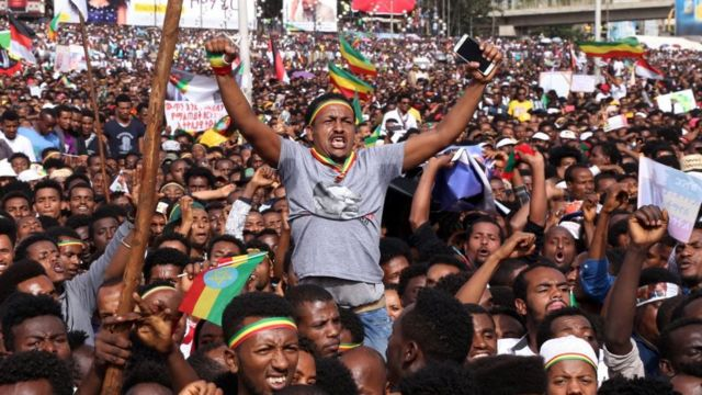 Cheering supporters of PM Abiy