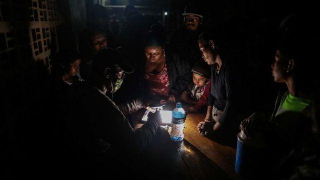 Familia en refugio en Nicaragua