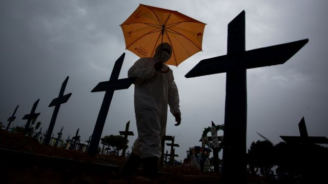 A worker in a protective suit walks through the graves of Covid-19 victims in Brazil.