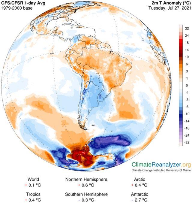 Mapa com massas de ar na América do Sul