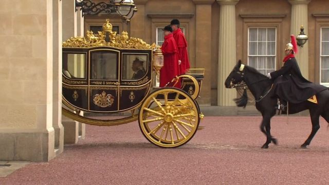 The Queen and Prince Philip en route Westminster in gilded carriage
