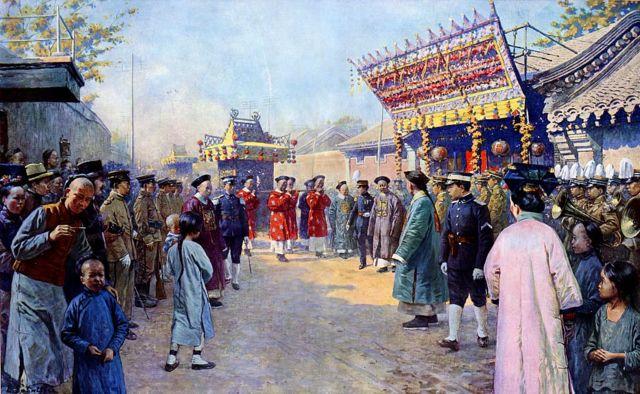 Procesión de regalos de boda de Puyi, emperador Xuantong de China (1906 Ð 1967), a su prometida Lady Gobulo, la emperatriz Xiaokemin (1906 Ð 1946).