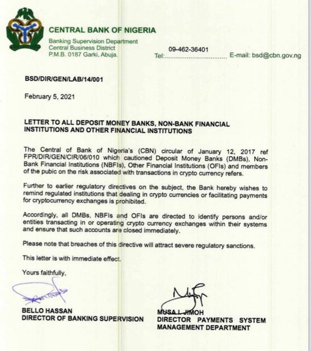 CBN letter to close down crypto accounts