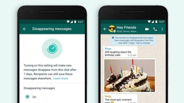 WhatsApp Kasım ayında da kendiliğinden silinen mesaj özelliği getirmişti