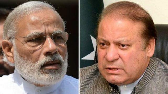 भारतीय प्रधानमंत्री नरेंद्र मोदी और पाकिस्तान के प्रधानमंत्री नवाज़ शरीफ