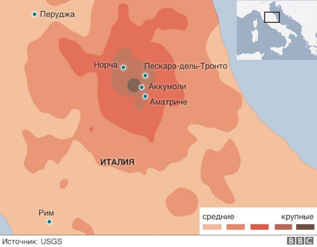 Карта района землетрясения в Италии