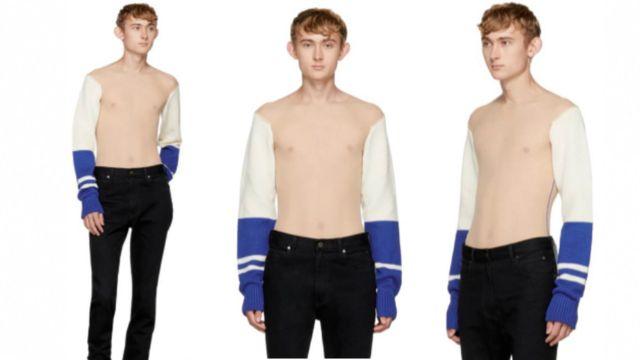 Model dey wear di new sweater wey designer Calvin Klein do