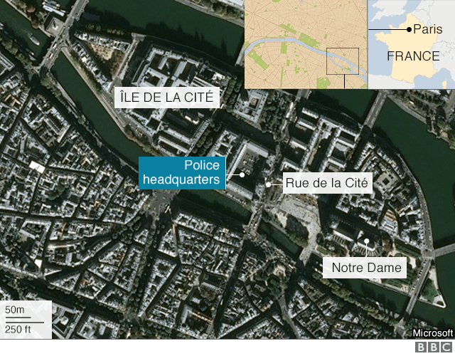 Map shows site of attack in central Paris