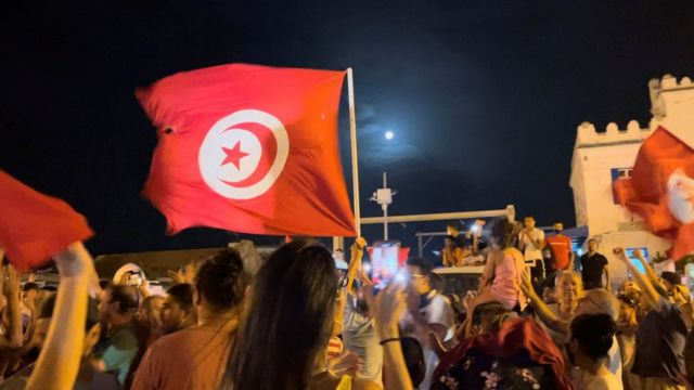 Demonstrations took place in Tunisia after the president's announcement.