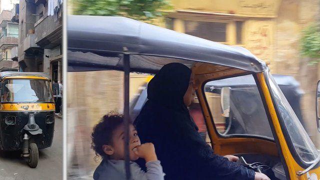 Composite photo of a woman driving a tuk-tuk