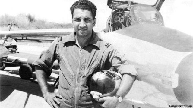 In the 1965 war, Flight Lieutenant Pathania shot down Pakistan's first Saber jet.