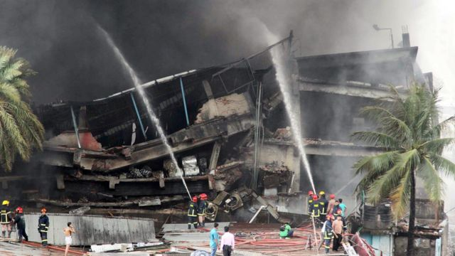 Burned-out factory in Tongi, Bangladesh, on 10 September 2016