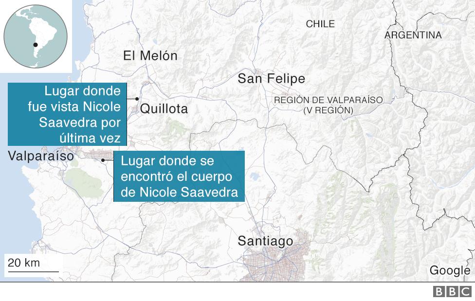 Mapa con la localización del cuerpo de NIcole