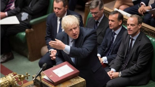 Boris Johnson no Parlamento britânico